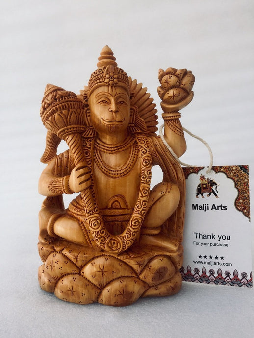 Wooden Hand Carved Lord Hanuman Statue - Malji Arts
