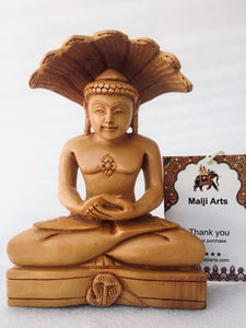 Wooden Hand Carved Lord Parasnath Statue - Malji Arts