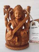 Load image into Gallery viewer, Wooden Hand Carved Saraswati Statue - Malji Arts
