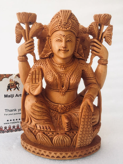 Wooden Hand Carved Goddess Laxmi Statue - Malji Arts