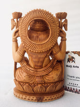 Load image into Gallery viewer, Wooden Hand Carved Goddess Laxmi Statue - Malji Arts