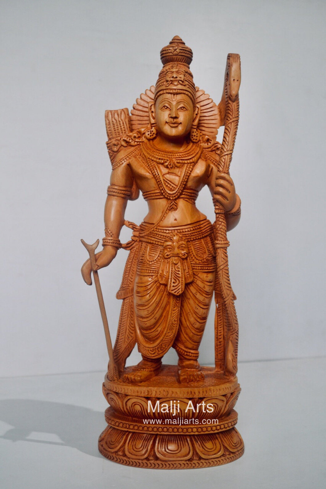 Wooden Lord Shri Rama Statue of Ayodhya Temple fine Carving - Malji Arts