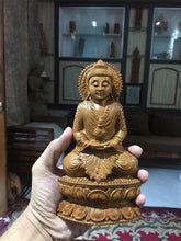 Load image into Gallery viewer, Sandalwood Beautifully Hand Carved Rare Meditation Buddha Statue - Malji Arts