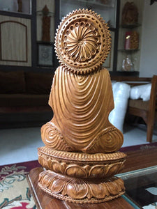 Sandalwood Beautifully Hand Carved Rare Meditation Buddha Statue - Malji Arts