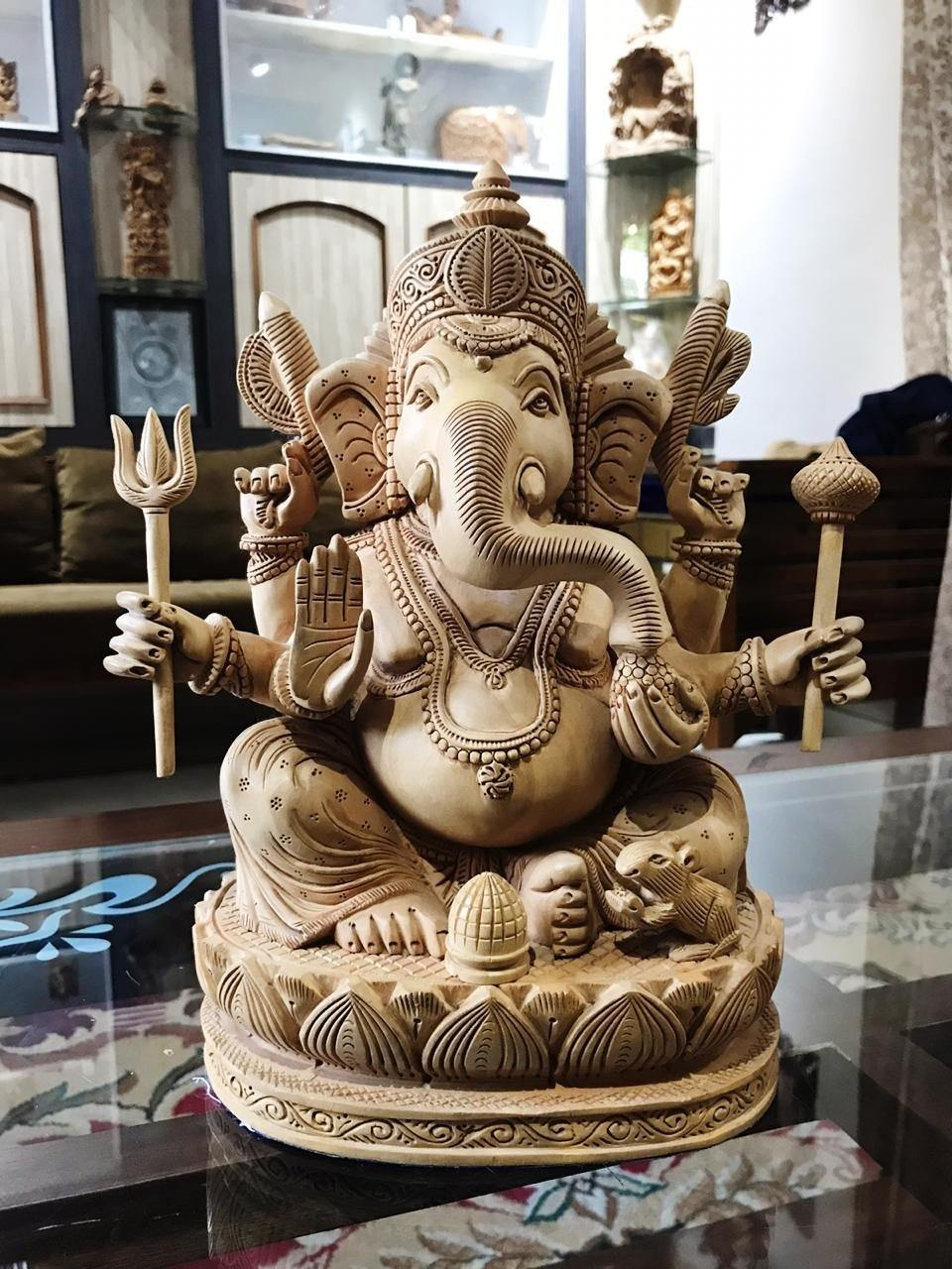 6 Hands Ganesha Sitting Fine Carved Statue - Malji Arts