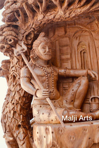 Sandalwood Shiva Resting Statue Under Tree - Malji Arts