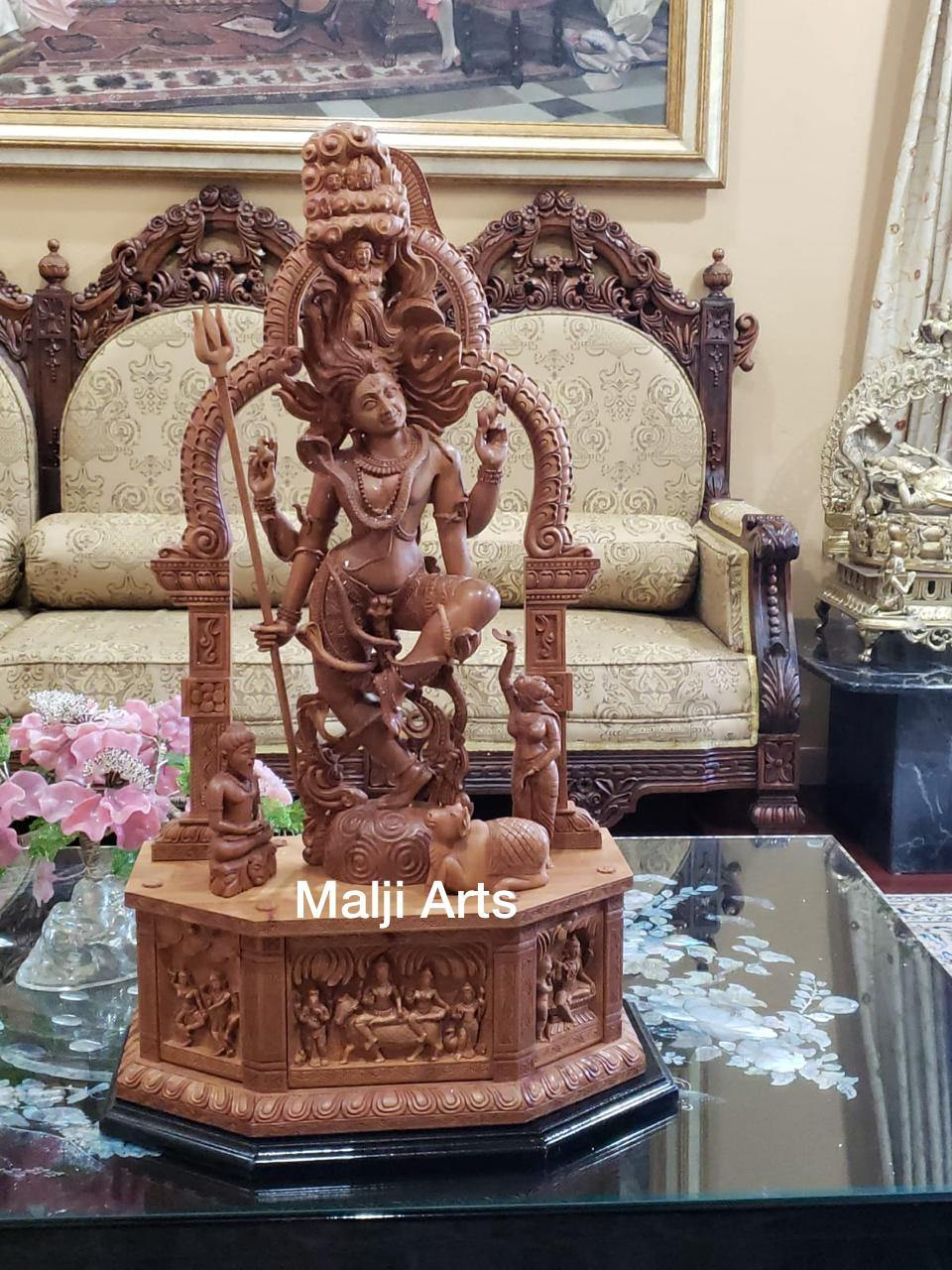 Sandalwood Carved Dancing Shiva Statue - Malji Arts