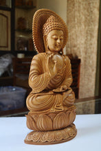 Load image into Gallery viewer, Large Sandalwood Fine Hand Carved Buddha Sitting Statue - Malji Arts