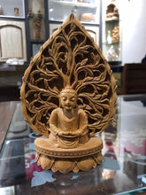 Load image into Gallery viewer, Wooden buddha meditation on leaf fine carved statue - Malji Arts