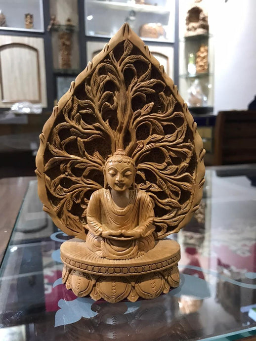 Wooden buddha meditation on leaf fine carved statue - Malji Arts