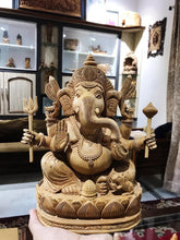 Load image into Gallery viewer, 6 Hands Ganesha Sitting Fine Carved Statue - Malji Arts