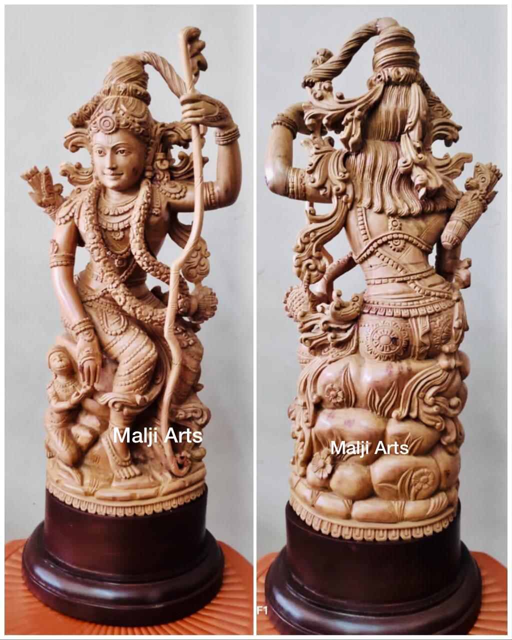 Sandalwood Lord Rama with Hanuman Quality Carving Statue - Malji Arts