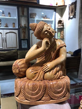 Load image into Gallery viewer, Wooden Smiling Buddha Resting Statue