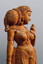 Load image into Gallery viewer, Wooden Royal Antique Standing Indian Lady Statue - Malji Arts
