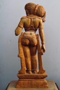 Wooden Royal Antique Standing Indian Lady Statue - Malji Arts