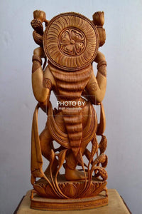 Wooden Beautifully Hand Carved Laxmi Ji Standing Statue - Malji Arts
