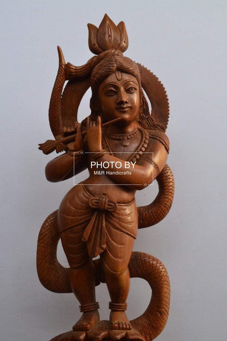 Sandalwood Antique Baby Krishna on Kalia Naag / Snack - Malji Arts