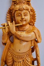Load image into Gallery viewer, Wooden Hand Carved Baal Krishna Standing - Malji Arts