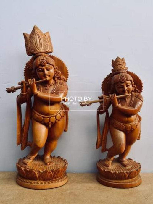 Sandalwood Antique Baby Krishna 2 Pieces Pair - Malji Arts