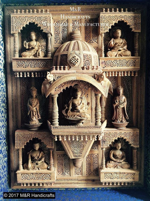 Sandalwood Carved BUDDHA Wall Hanging JHAROKHA Decorative Piece - Malji Arts