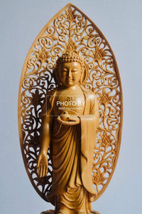 Wooden Hand Carved Chinese Walking Buddha - Malji Arts