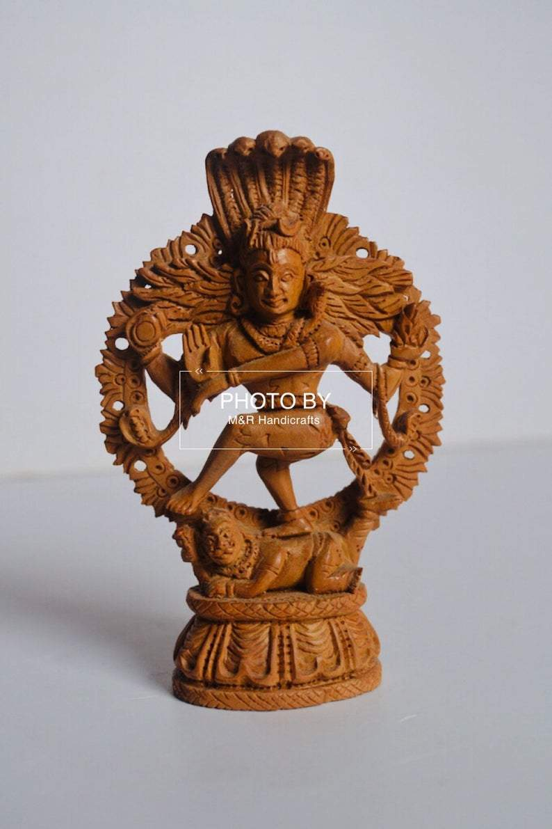 Sandalwood Beautifully Carved Small Natraja Statue - Malji Arts