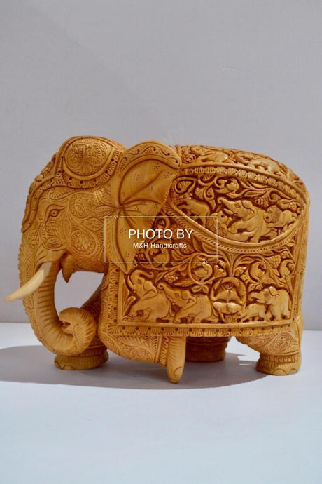 Wooden Very Fine Carved Elephant with Body Carving - Malji Arts