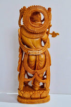 Load image into Gallery viewer, Wooden Fine Hand Carved Standing Krishna Statue - Malji Arts