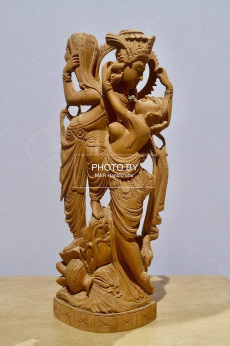Collective Sandalwood Radha Krishna Love Scene Statue - Malji Arts