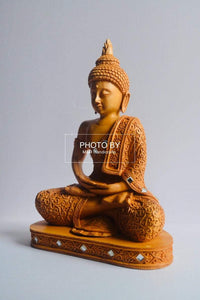 Wooden Beautifully Hand Carved Buddha Meditation - Malji Arts