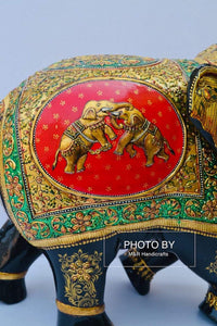 Wooden Fine Hand Painted Royal Elephant - Malji Arts
