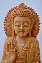 Load image into Gallery viewer, Wooden Standing Buddha Statue Big- 15 inches - Malji Arts