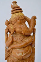 Load image into Gallery viewer, Vintage Sandalwood Carved Rare Lord Ganesha Dancing Statue - Malji Arts