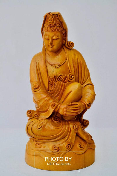 Sandalwood Hand Carved Sitting Lady Buddha Statue - Malji Arts