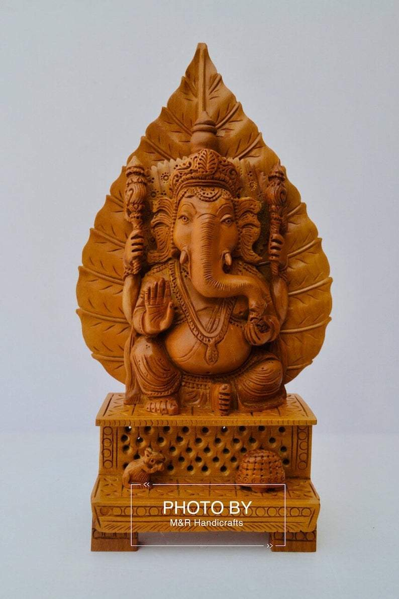 Sandalwood Fine Hand Carved Ganesh Statue on Leaf - Malji Arts