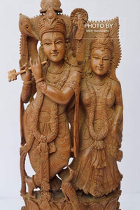 Vintage Sandalwood Beautifully Carved Radha Krishna Statue - Malji Arts