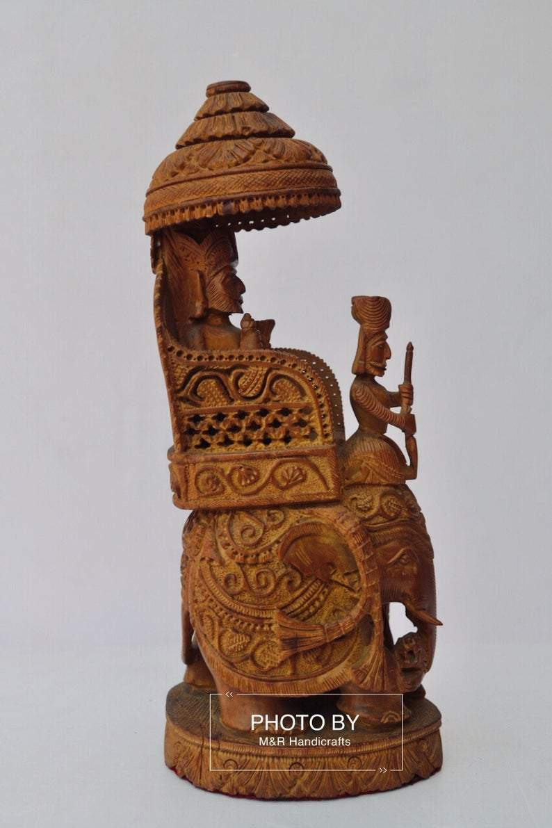 Vintage Sandalwood Carved Royal Elephant Ambabari Statue - Malji Arts