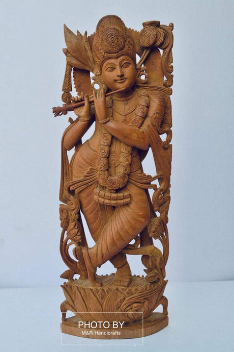 Antique Sandalwood Carved Lord Krishna statue - Malji Arts