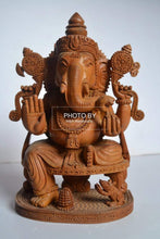 Load image into Gallery viewer, Sandalwood Beautifully Hand Carved Ganesha Sitting Statue - Malji Arts