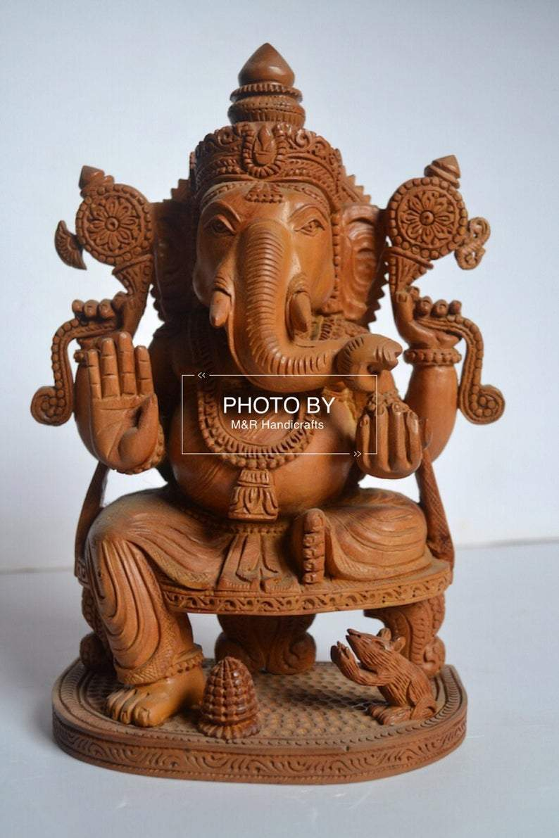 Sandalwood Beautifully Hand Carved Ganesha Sitting Statue - Malji Arts