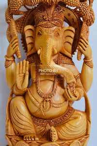 Wooden Fine Carved Ganesha Statue Under Tree - Malji Arts
