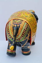Load image into Gallery viewer, Wooden Fine Embossed Painted Elephant Statue - Malji Arts