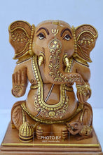 Load image into Gallery viewer, Wooden Hand Painted Baby Ganesha Statue - Malji Arts