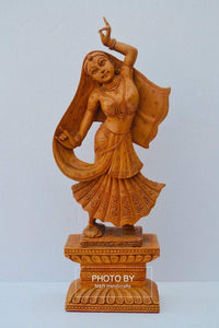 Wooden Beautifully Hand Carved Dancing Lady Statue - Malji Arts