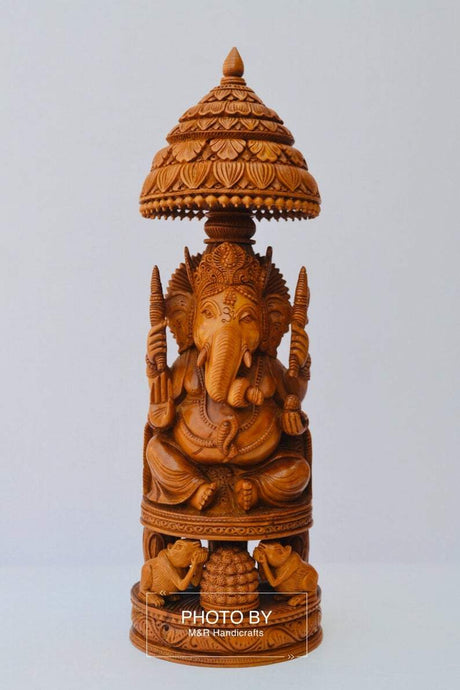 Sandalwood Beautifully Hand Carved Ganesha Chatri or umbrella - Malji Arts