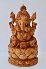Load image into Gallery viewer, Sandalwood Fine Hand Carved Ganesha Statue on Lotus - Malji Arts