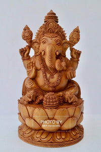 Sandalwood Fine Hand Carved Ganesha Statue on Lotus - Malji Arts