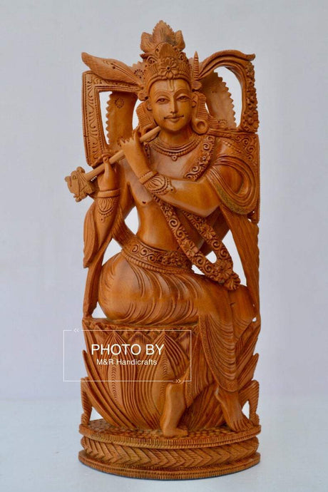 Sandalwood Very Fine Carved Sitting Lord Krishna Statue - Malji Arts