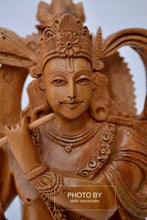 Load image into Gallery viewer, Sandalwood Very Fine Carved Sitting Lord Krishna Statue - Malji Arts