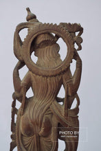 Load image into Gallery viewer, Vintage Sandalwood Carved Rare Goddess Saraswati Statue - Malji Arts